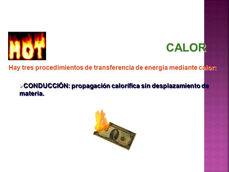 Hay tres procedimientos de transferencia de energía mediante calor: CONDUCCIÓN: propagación calorífica sin desplazamiento de materia. CONDUCCIÓN: prop