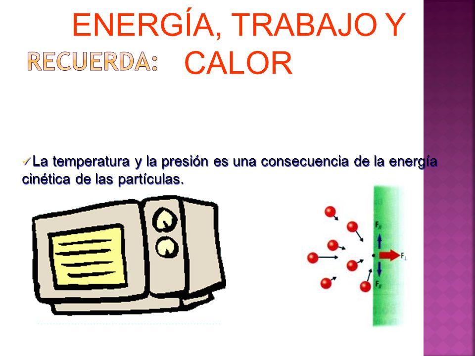 La temperatura y la presión es una consecuencia de la energía cinética de las partículas. La temperatura y la presión es una consecuencia de la energí