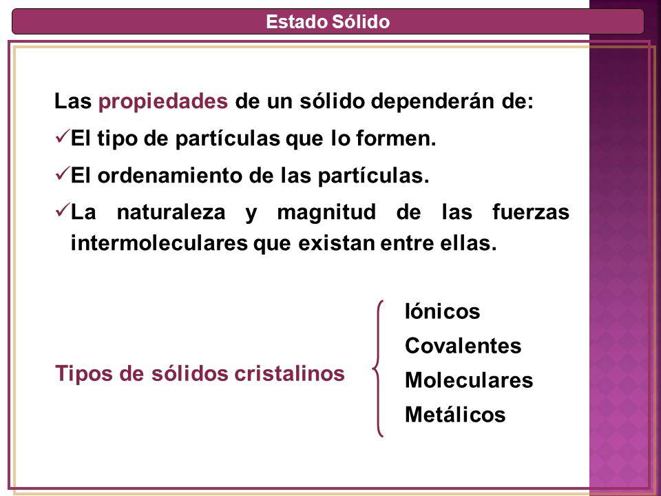 Estado Sólido Las propiedades de un sólido dependerán de: El tipo de partículas que lo formen.
