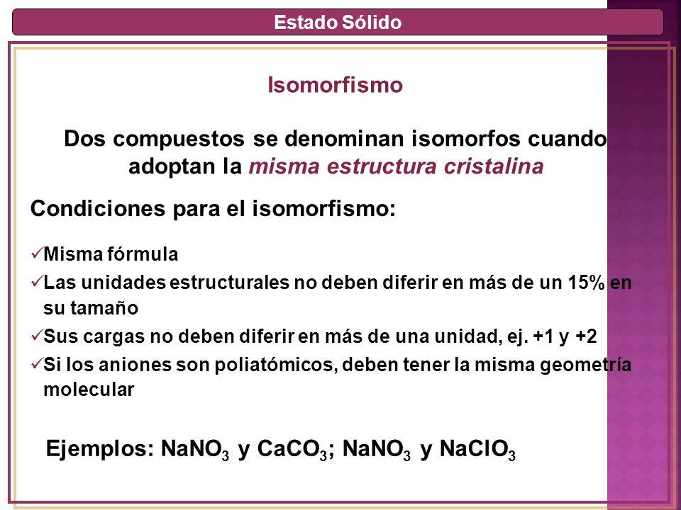 Estado Sólido Isomorfismo Dos compuestos se denominan isomorfos cuando adoptan la misma estructura cristalina Misma fórmula Las unidades estructurales no deben diferir en más de un 15% en su tamaño Sus cargas no deben diferir en más de una unidad, ej.
