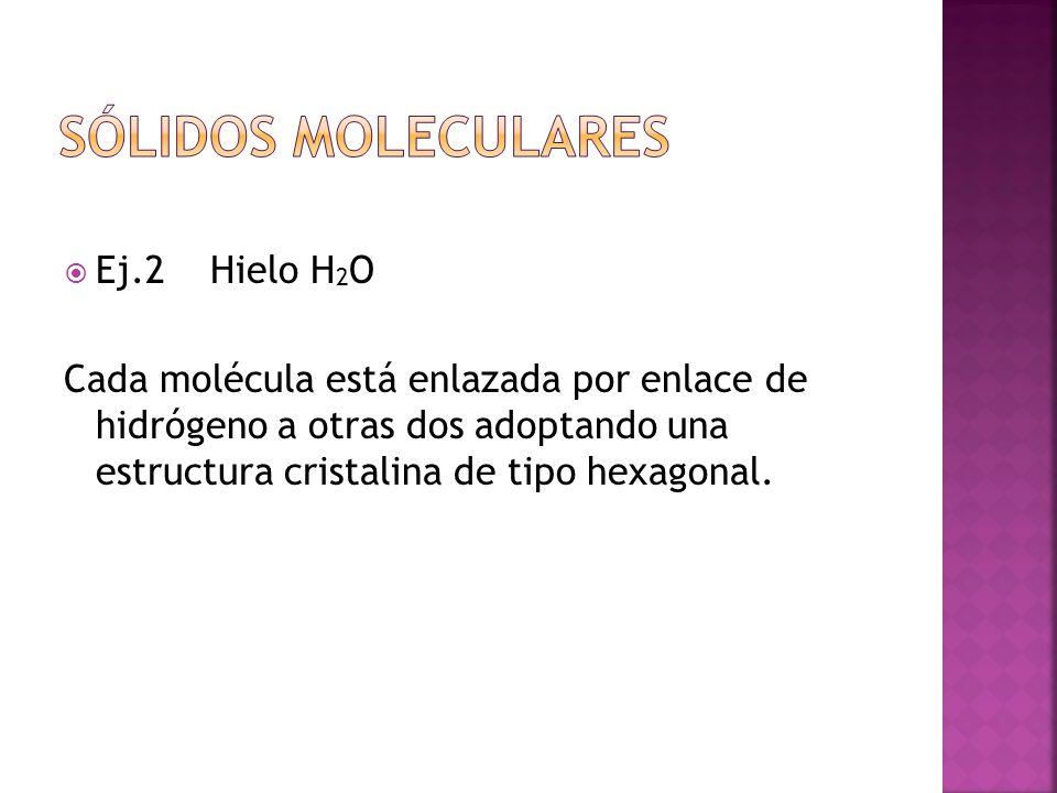 Ej.2 Hielo H 2 O Cada molécula está enlazada por enlace de hidrógeno a otras dos adoptando una estructura cristalina de tipo hexagonal.