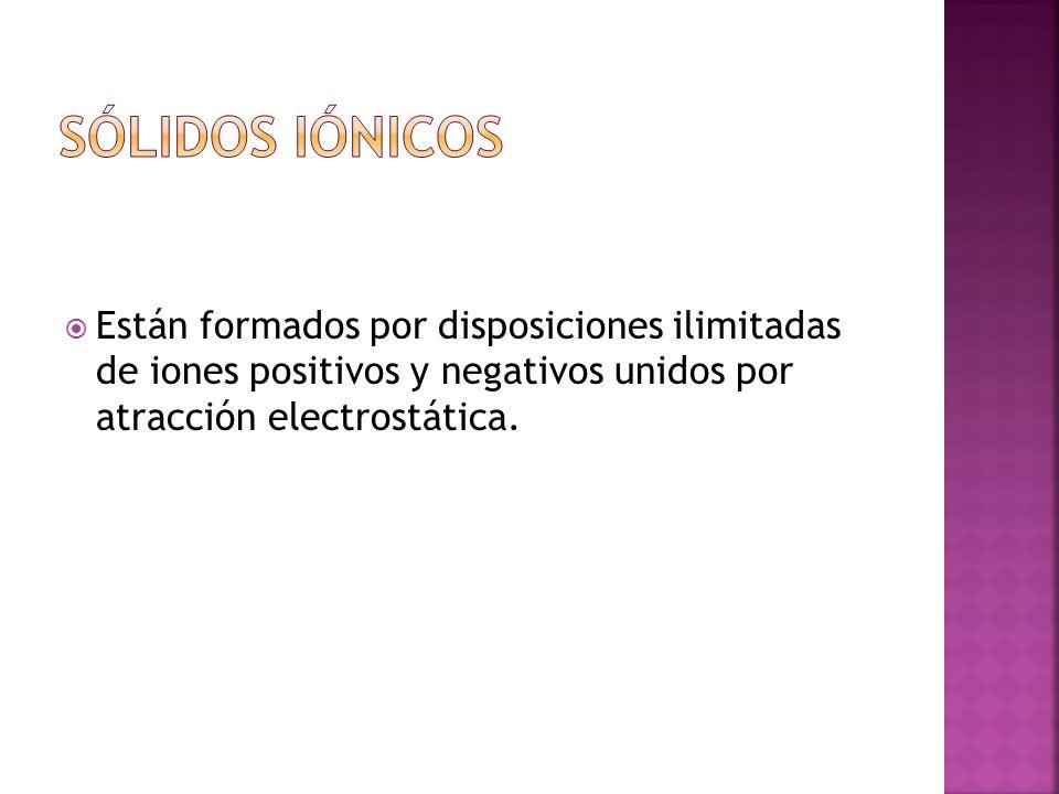Están formados por disposiciones ilimitadas de iones positivos y negativos unidos por atracción electrostática.
