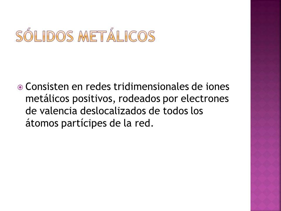 Consisten en redes tridimensionales de iones metálicos positivos, rodeados por electrones de valencia deslocalizados de todos los átomos partícipes de la red.