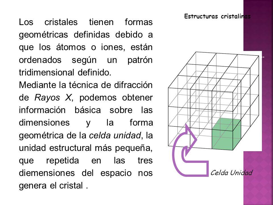 Estructuras cristalinas Los cristales tienen formas geométricas definidas debido a que los átomos o iones, están ordenados según un patrón tridimensional definido.