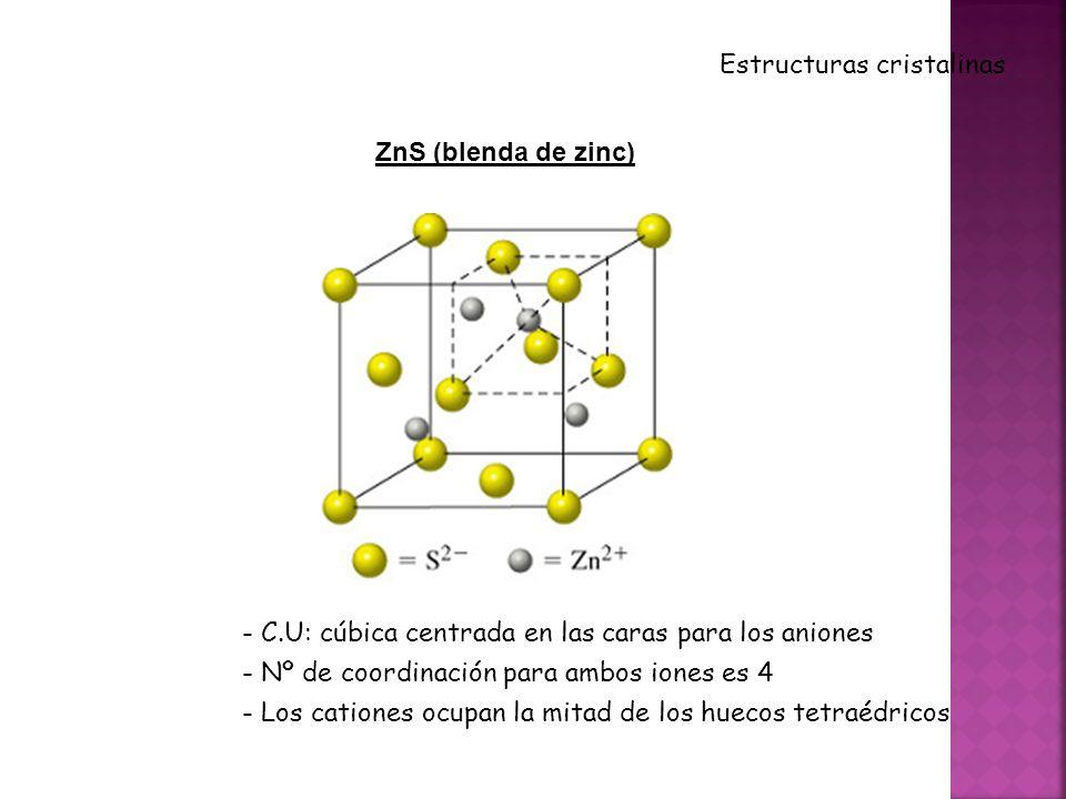 ZnS (blenda de zinc) Estructuras cristalinas - C.U: cúbica centrada en las caras para los aniones - Nº de coordinación para ambos iones es 4 - Los cationes ocupan la mitad de los huecos tetraédricos