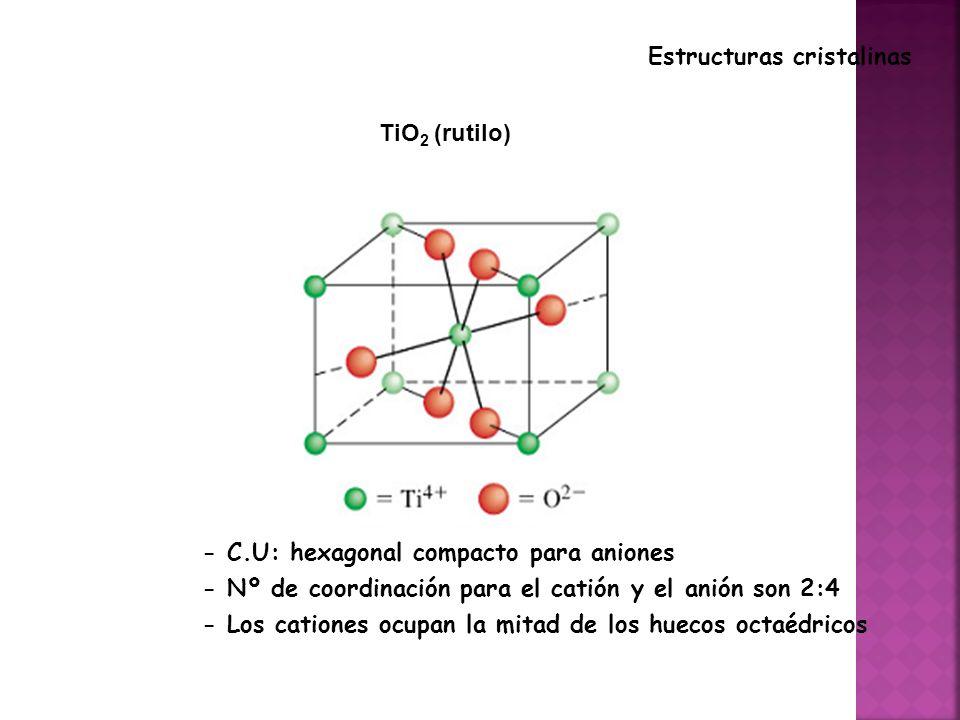 TiO 2 (rutilo) Estructuras cristalinas - C.U: hexagonal compacto para aniones - Nº de coordinación para el catión y el anión son 2:4 - Los cationes ocupan la mitad de los huecos octaédricos