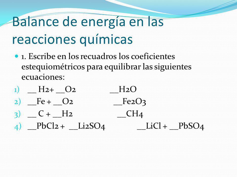 Balance de energía en las reacciones químicas 1. Escribe en los recuadros los coeficientes estequiométricos para equilibrar las siguientes ecuaciones: