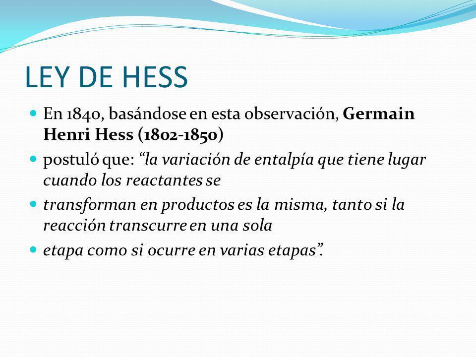 LEY DE HESS En 1840, basándose en esta observación, Germain Henri Hess (1802-1850) postuló que: la variación de entalpía que tiene lugar cuando los re