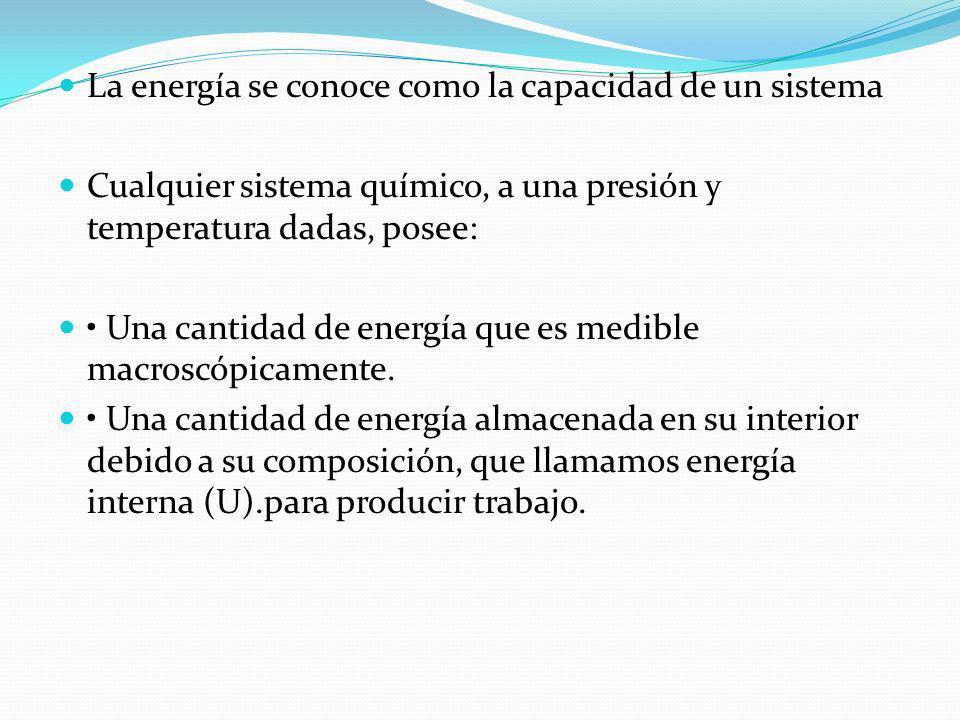 La energía se conoce como la capacidad de un sistema Cualquier sistema químico, a una presión y temperatura dadas, posee: Una cantidad de energía que