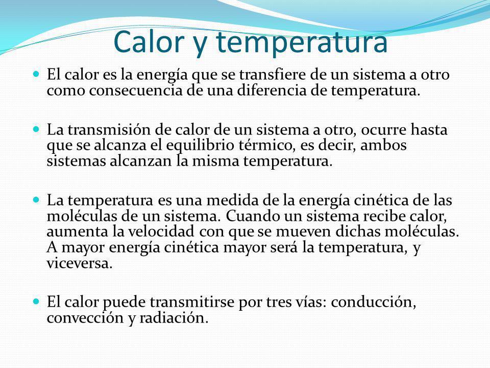 Calor y temperatura El calor es la energía que se transfiere de un sistema a otro como consecuencia de una diferencia de temperatura. La transmisión d