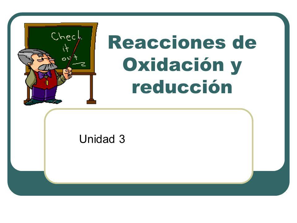 Reacciones de Oxidación y reducción Unidad 3