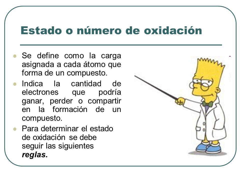 Estado o número de oxidación Se define como la carga asignada a cada átomo que forma de un compuesto. Indica la cantidad de electrones que podría gana