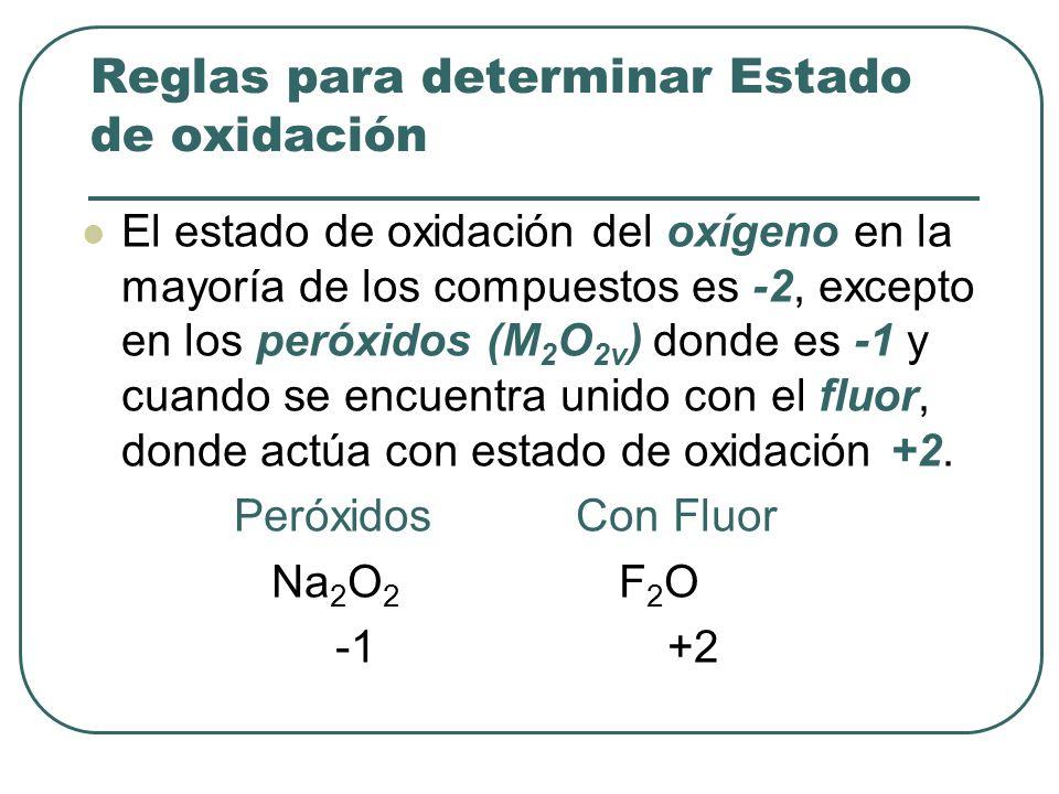 El estado de oxidación del oxígeno en la mayoría de los compuestos es -2, excepto en los peróxidos (M 2 O 2v ) donde es -1 y cuando se encuentra unido