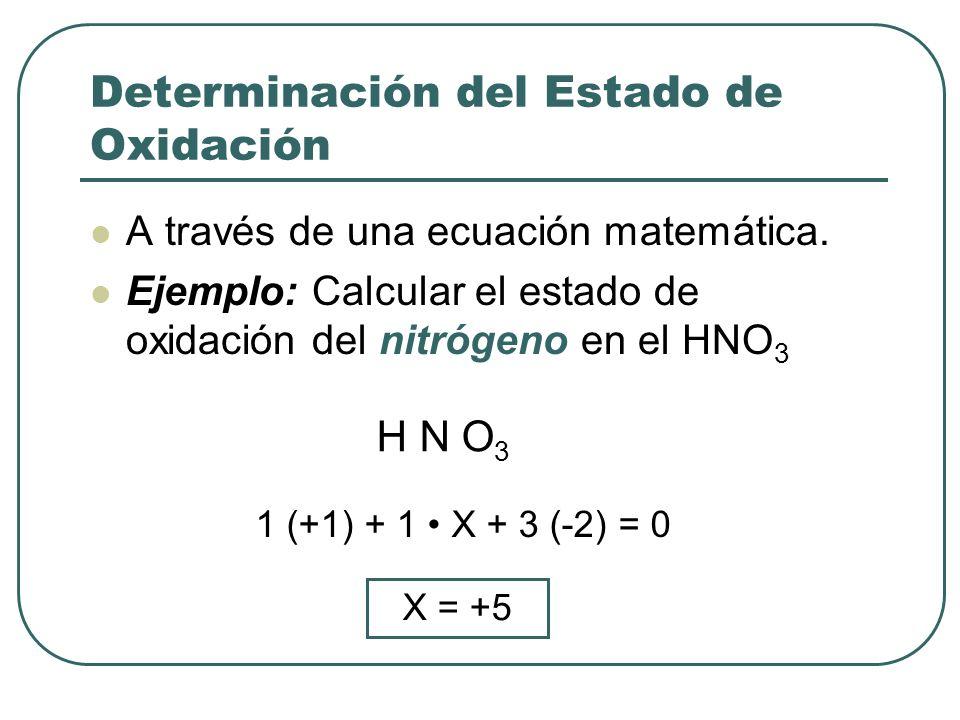 Determinación del Estado de Oxidación A través de una ecuación matemática. Ejemplo: Calcular el estado de oxidación del nitrógeno en el HNO 3 H N O 3
