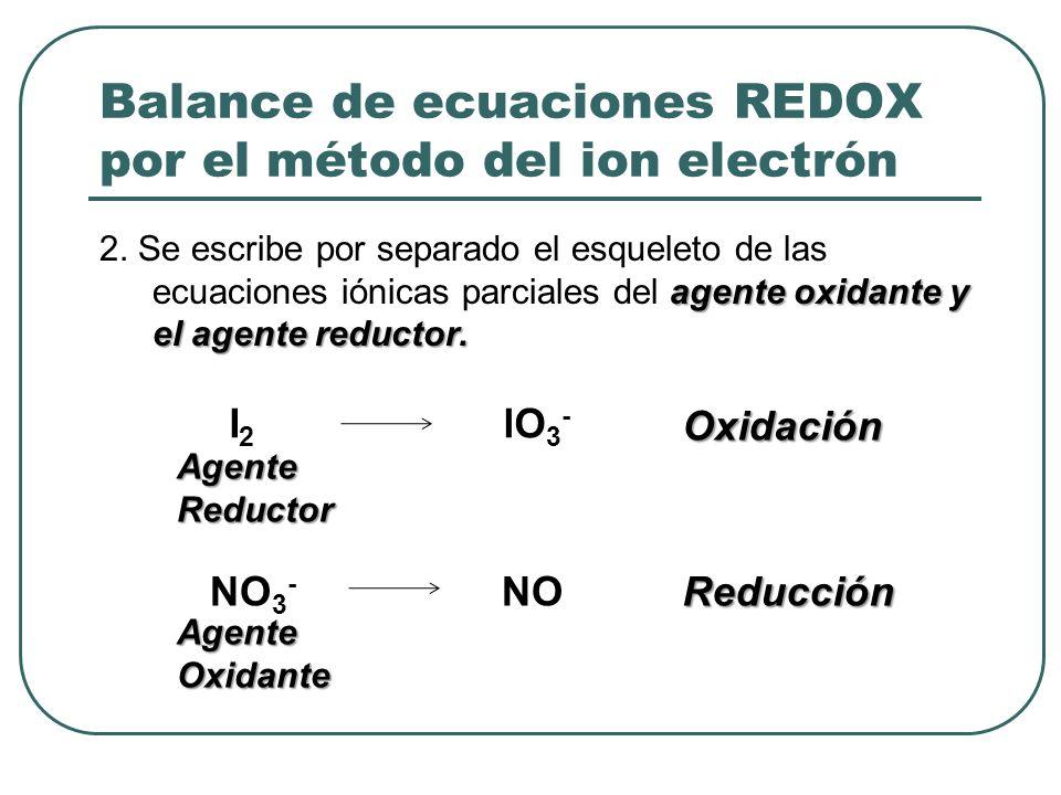 Balance de ecuaciones REDOX por el método del ion electrón agente oxidante y el agente reductor. 2. Se escribe por separado el esqueleto de las ecuaci