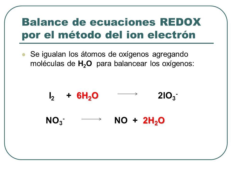 Balance de ecuaciones REDOX por el método del ion electrón Se igualan los átomos de oxígenos agregando moléculas de H 2 O para balancear los oxígenos: