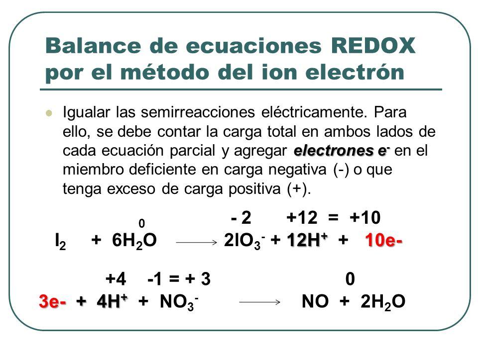 Balance de ecuaciones REDOX por el método del ion electrón electrones e - Igualar las semirreacciones eléctricamente. Para ello, se debe contar la car