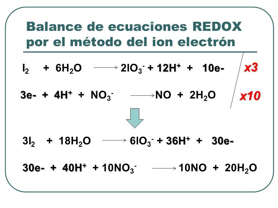Balance de ecuaciones REDOX por el método del ion electrón 12H + 10e- I 2 + 6H 2 O 2lO 3 - + 12H + + 10e- 3e- + 4H + 3e- + 4H + + NO 3 - NO + 2H 2 O x