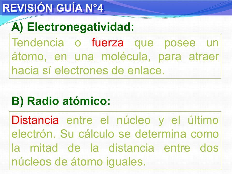 REVISIÓN GUÍA N°4 C) Potencial de ionización: Energía necesaria para arrancar un electrón débilmente retenido en un átomo gaseoso desde su estado fundamental.
