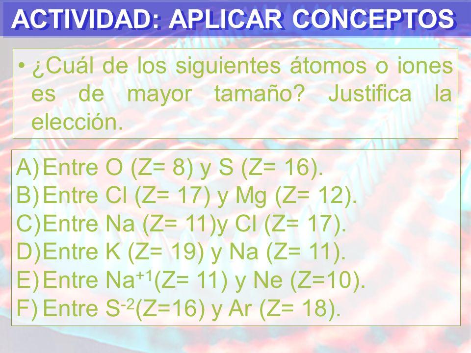 ACTIVIDAD: APLICAR CONCEPTOS ¿Cuál de los siguientes átomos o iones presenta mayor electronegatividad.