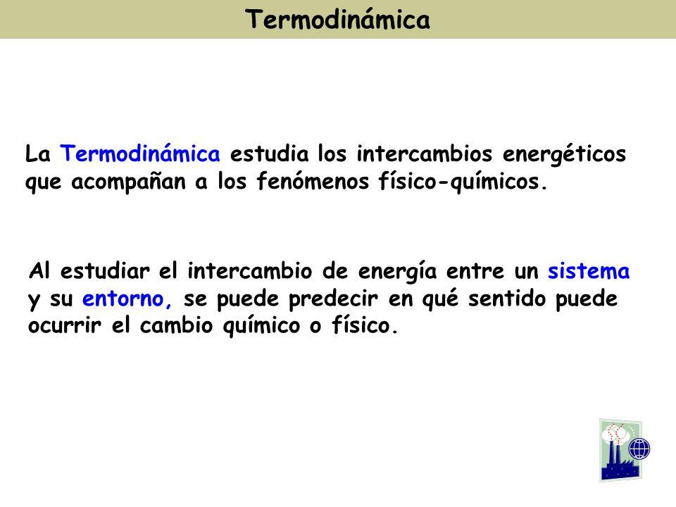 Termodinámica La Termodinámica estudia los intercambios energéticos que acompañan a los fenómenos físico-químicos. Al estudiar el intercambio de energ