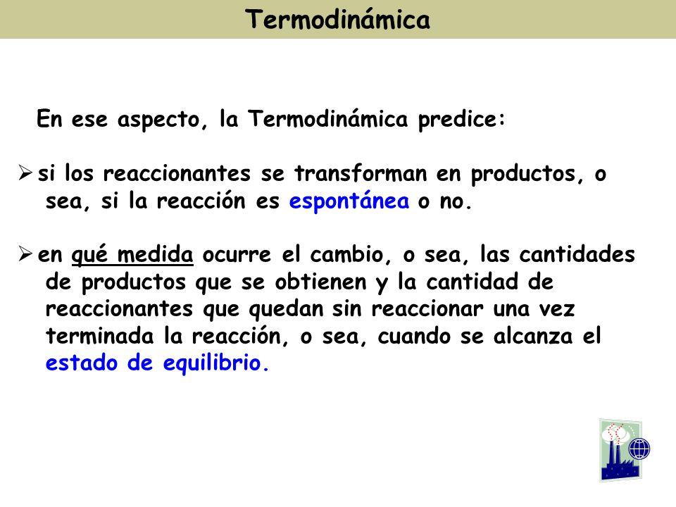 En ese aspecto, la Termodinámica predice: si los reaccionantes se transforman en productos, o sea, si la reacción es espontánea o no. en qué medida oc