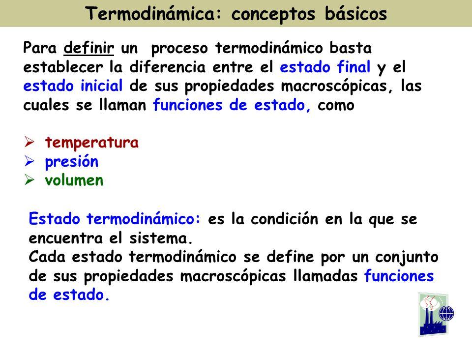 Para definir un proceso termodinámico basta establecer la diferencia entre el estado final y el estado inicial de sus propiedades macroscópicas, las c