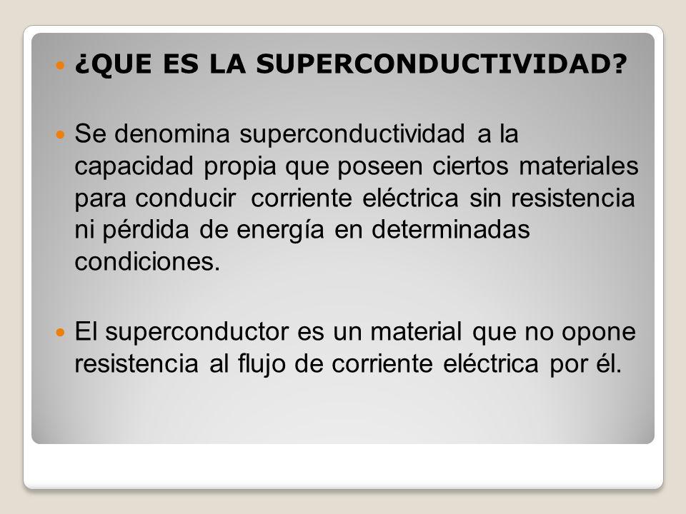¿QUE ES LA SUPERCONDUCTIVIDAD? Se denomina superconductividad a la capacidad propia que poseen ciertos materiales para conducir corriente eléctrica si