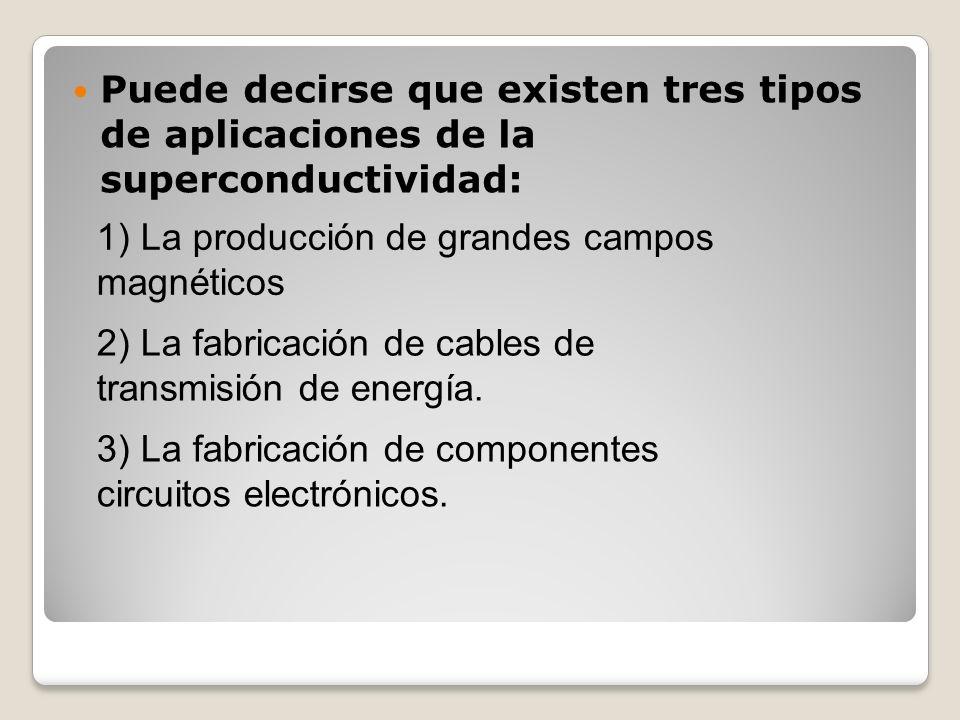 Puede decirse que existen tres tipos de aplicaciones de la superconductividad: 1) La producción de grandes campos magnéticos 2) La fabricación de cabl