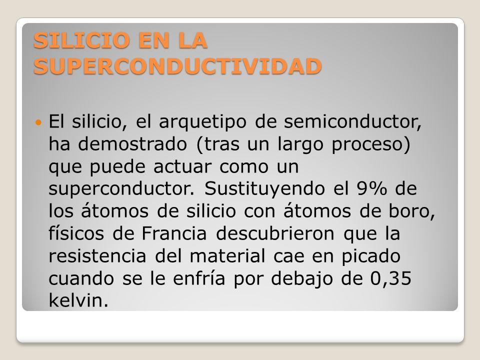 SILICIO EN LA SUPERCONDUCTIVIDAD El silicio, el arquetipo de semiconductor, ha demostrado (tras un largo proceso) que puede actuar como un superconduc