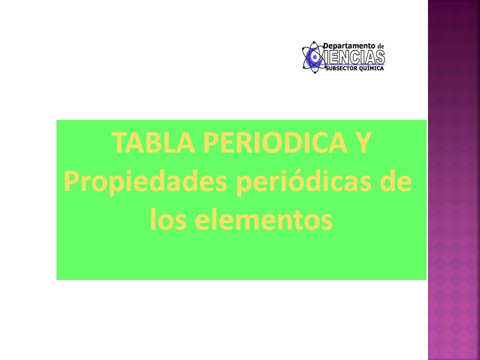 TABLA PERIODICA Y Propiedades periódicas de los elementos