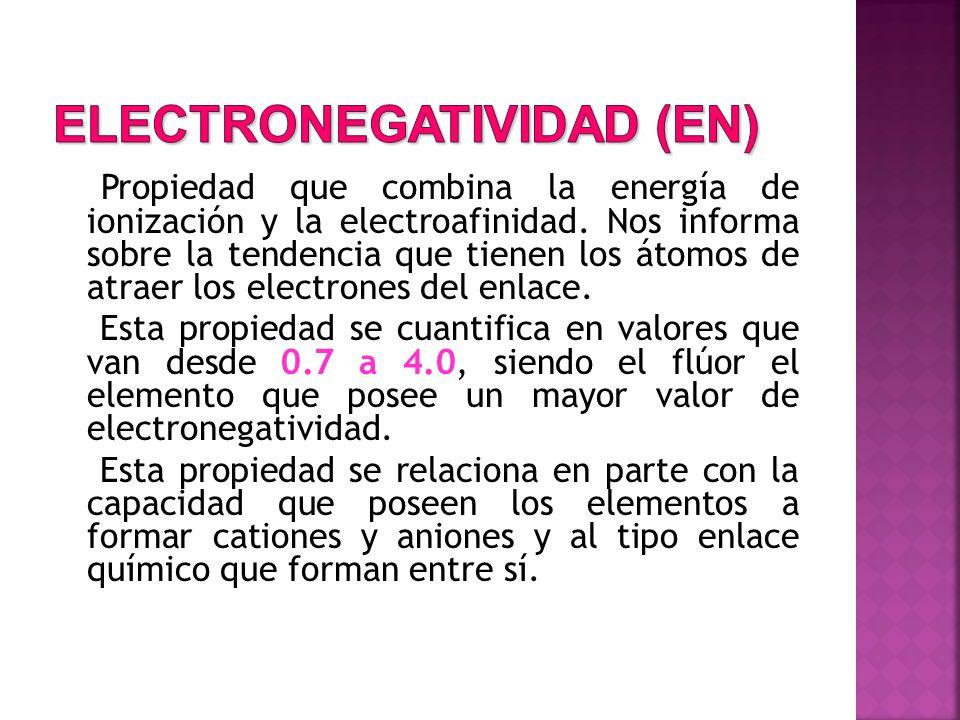 Propiedad que combina la energía de ionización y la electroafinidad. Nos informa sobre la tendencia que tienen los átomos de atraer los electrones del