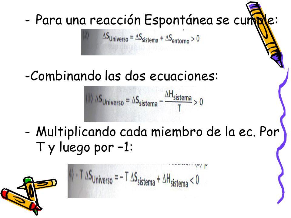 -Para una reacción Espontánea se cumple: -Combinando las dos ecuaciones: -Multiplicando cada miembro de la ec. Por T y luego por –1: