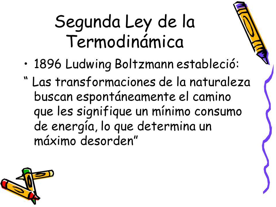 Segunda Ley de la Termodinámica 1896 Ludwing Boltzmann estableció: Las transformaciones de la naturaleza buscan espontáneamente el camino que les sign