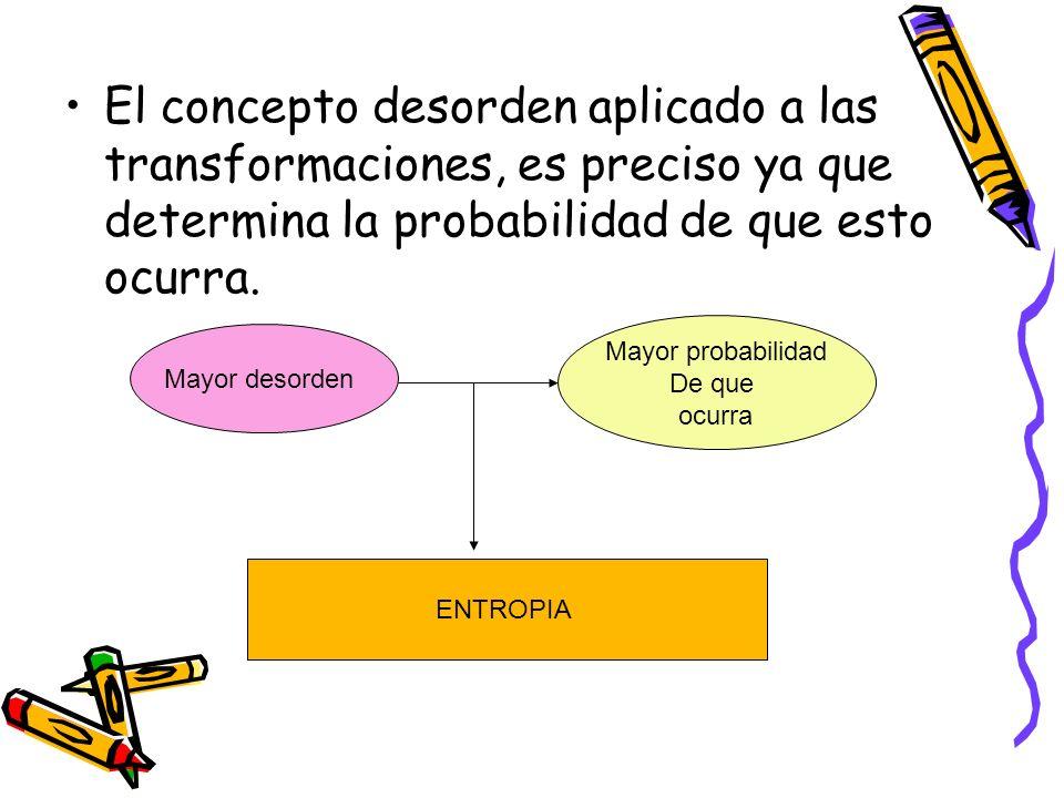 El concepto desorden aplicado a las transformaciones, es preciso ya que determina la probabilidad de que esto ocurra. Mayor desorden Mayor probabilida