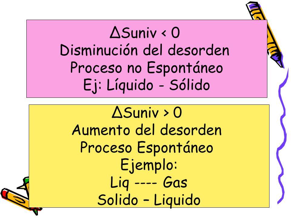 ΔSuniv < 0 Disminución del desorden Proceso no Espontáneo Ej: Líquido - Sólido ΔSuniv > 0 Aumento del desorden Proceso Espontáneo Ejemplo: Liq ---- Ga