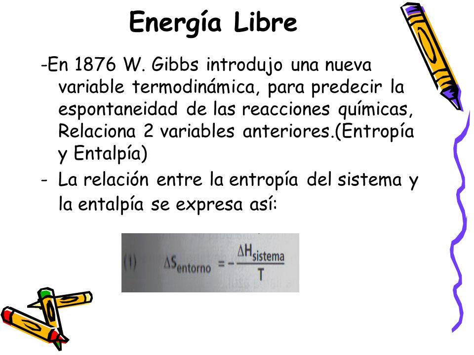 Energía Libre -En 1876 W. Gibbs introdujo una nueva variable termodinámica, para predecir la espontaneidad de las reacciones químicas, Relaciona 2 var