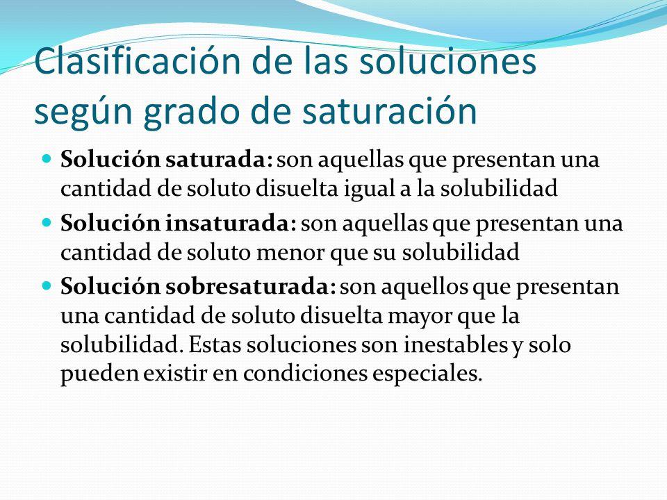 Clasificación de las soluciones según grado de saturación Solución saturada: son aquellas que presentan una cantidad de soluto disuelta igual a la sol