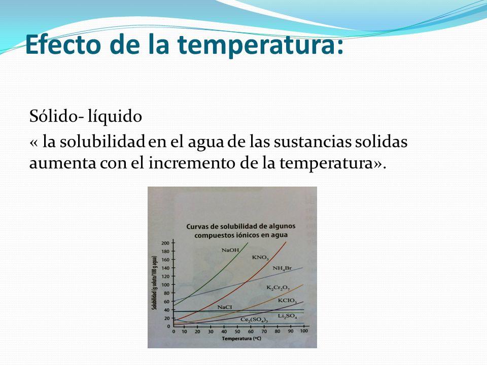 Efecto de la temperatura: Sólido- líquido « la solubilidad en el agua de las sustancias solidas aumenta con el incremento de la temperatura».