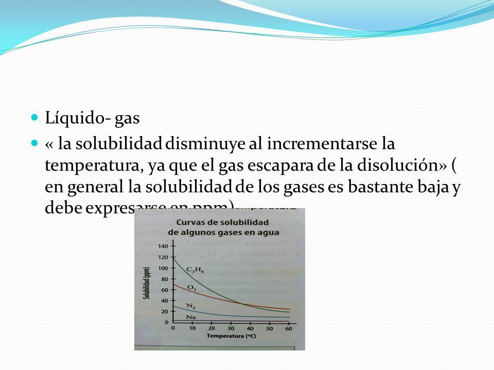 Líquido- gas « la solubilidad disminuye al incrementarse la temperatura, ya que el gas escapara de la disolución» ( en general la solubilidad de los g