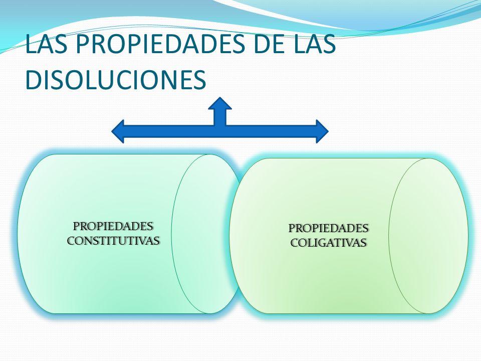 LAS PROPIEDADES DE LAS DISOLUCIONES PROPIEDADES CONSTITUTIVAS PROPIEDADES COLIGATIVAS