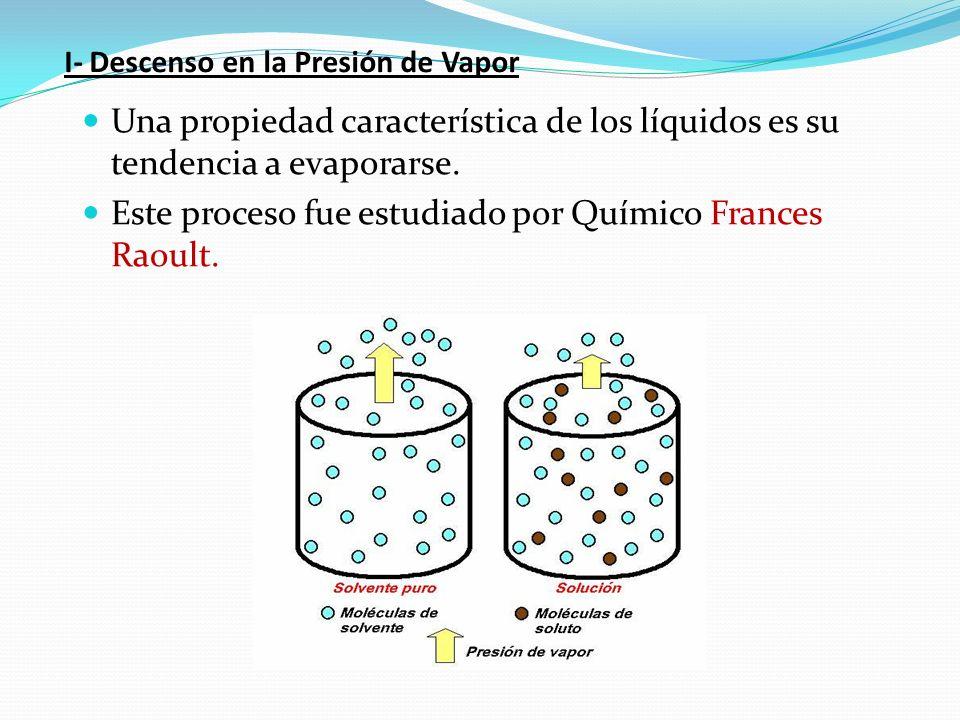 I- Descenso en la Presión de Vapor Una propiedad característica de los líquidos es su tendencia a evaporarse. Este proceso fue estudiado por Químico F