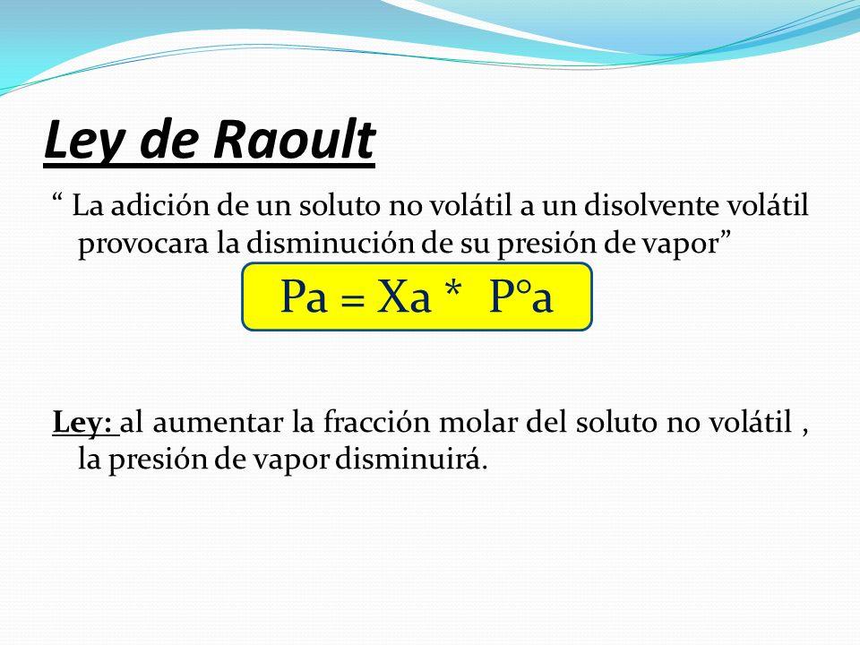 Ley de Raoult La adición de un soluto no volátil a un disolvente volátil provocara la disminución de su presión de vapor Ley: al aumentar la fracción