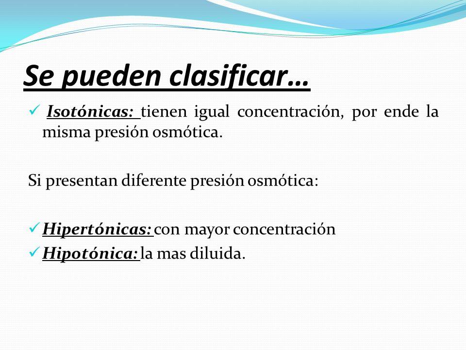 Se pueden clasificar… Isotónicas: tienen igual concentración, por ende la misma presión osmótica. Si presentan diferente presión osmótica: Hipertónica