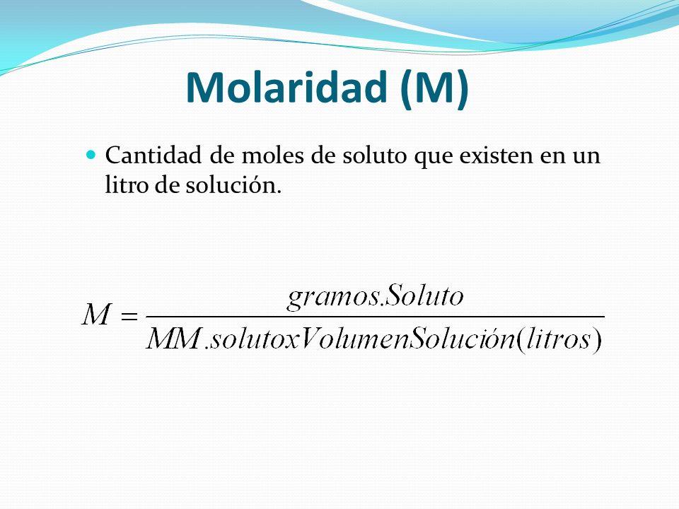 Fracción Molar (Xn) La fracción molar o fracción en moles de soluto en una solución, es el cuociente entre la cantidad de moles del soluto y la cantidad total de moles en la solución (soluto + solvente).