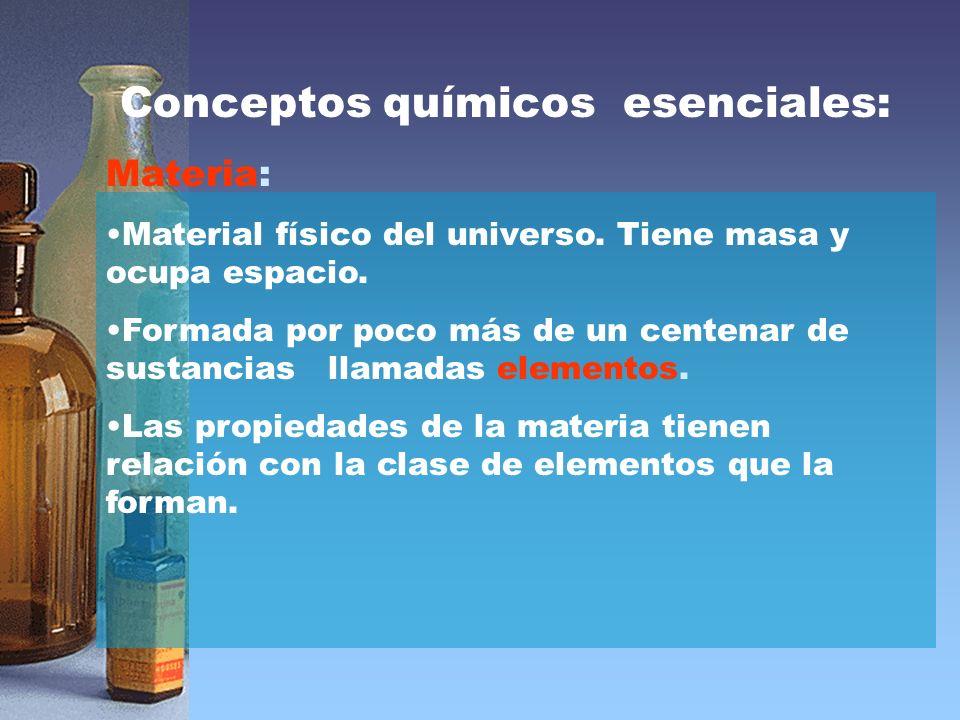 Conceptos químicos esenciales: Materia: Material físico del universo.