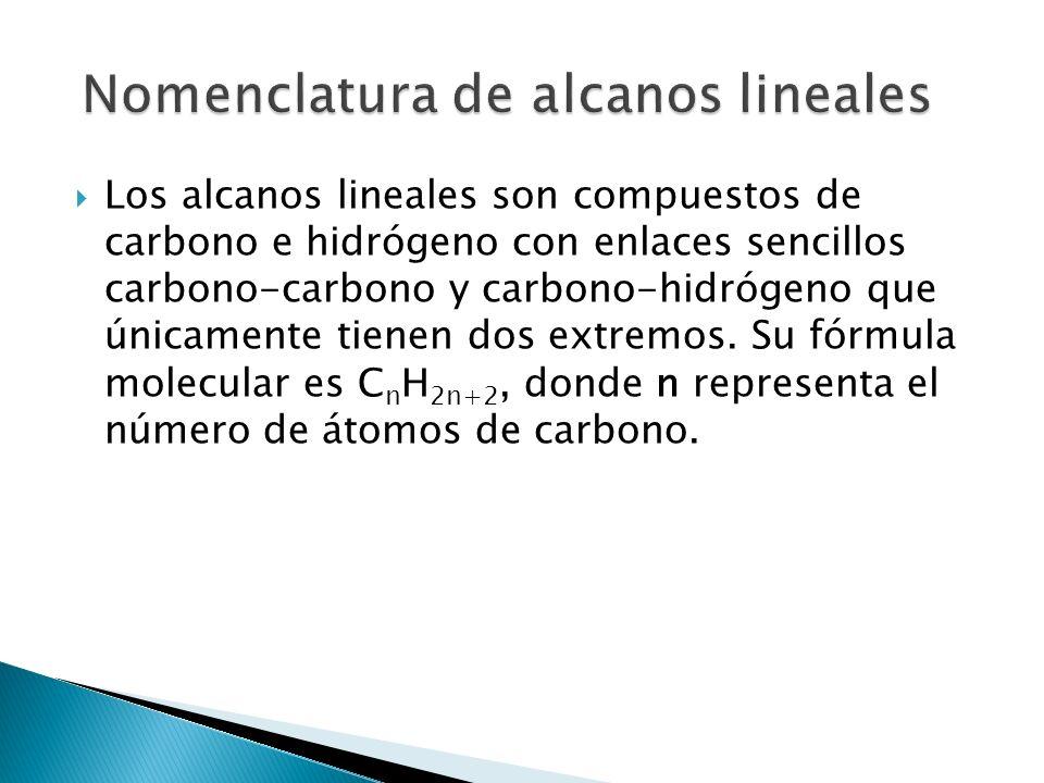 Los alcanos lineales son compuestos de carbono e hidrógeno con enlaces sencillos carbono-carbono y carbono-hidrógeno que únicamente tienen dos extremo