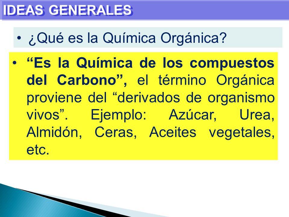 IDEAS GENERALES ¿Qué es la Química Orgánica? Es la Química de los compuestos del Carbono, el término Orgánica proviene del derivados de organismo vivo