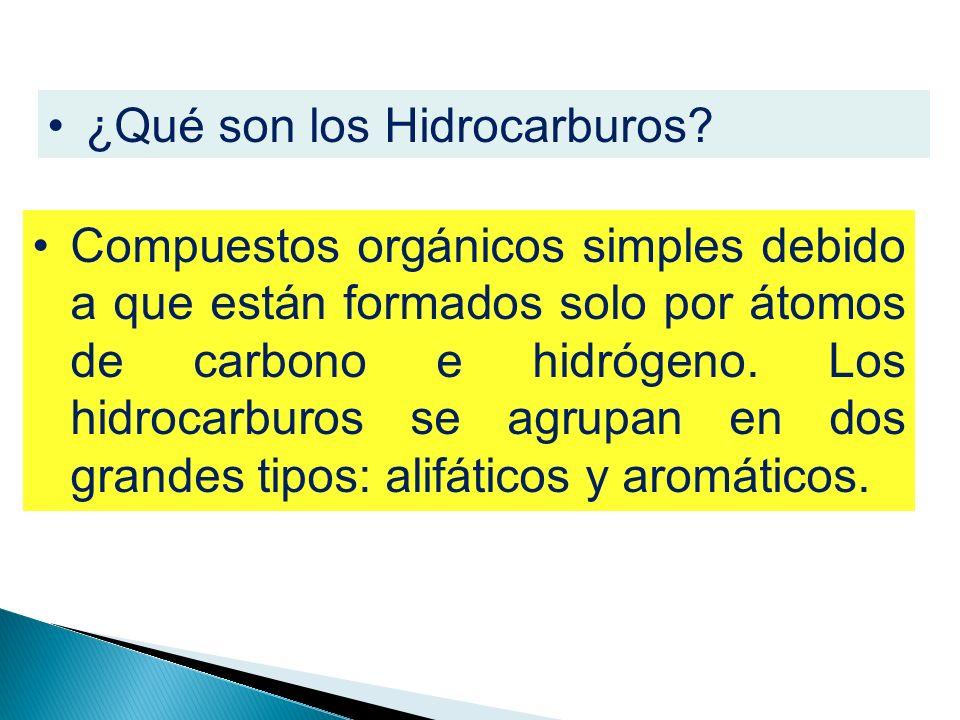¿Qué son los Hidrocarburos? Compuestos orgánicos simples debido a que están formados solo por átomos de carbono e hidrógeno. Los hidrocarburos se agru