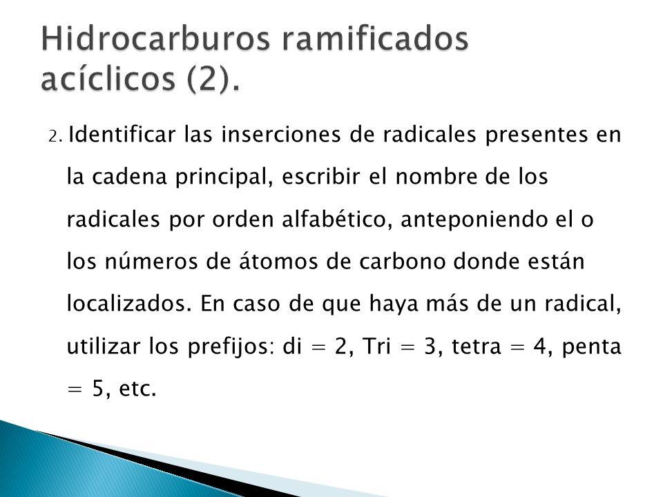 2. Identificar las inserciones de radicales presentes en la cadena principal, escribir el nombre de los radicales por orden alfabético, anteponiendo e